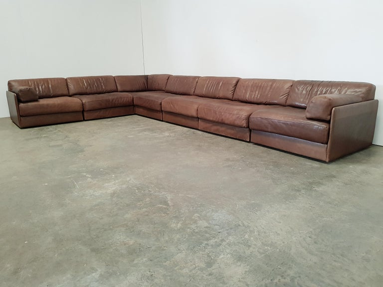 De Sede DS 76 Brown Leather Sectional Sofa