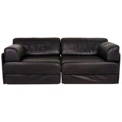De Sede DS 76 Leather Sofa Black Two-Seat Function Variable Sleeping Function
