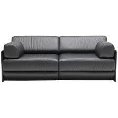 De Sede DS 76 Two-Seat Sofa Bed in Black Upholstery by De Sede Design Team