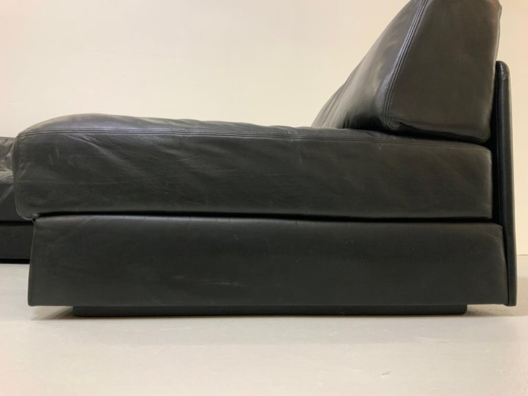 De Sede DS-76 Vintage Leather Lounge 4-Seat Modular Sofa Daybed in Black, 1970s 10