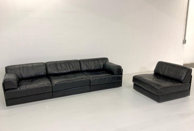 Mid-Century Modern De Sede DS-76 Vintage Leather Lounge 4-Seat Modular Sofa Daybed in Black, 1970s