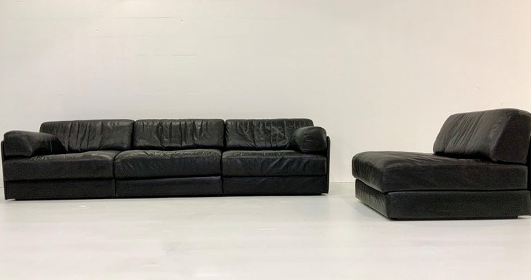 Swiss De Sede DS-76 Vintage Leather Lounge 4-Seat Modular Sofa Daybed in Black, 1970s