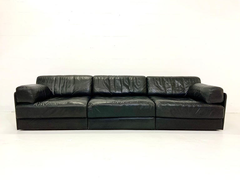 De Sede DS-76 Vintage Leather Lounge 4-Seat Modular Sofa Daybed in Black, 1970s In Good Condition In Hamburg, DE