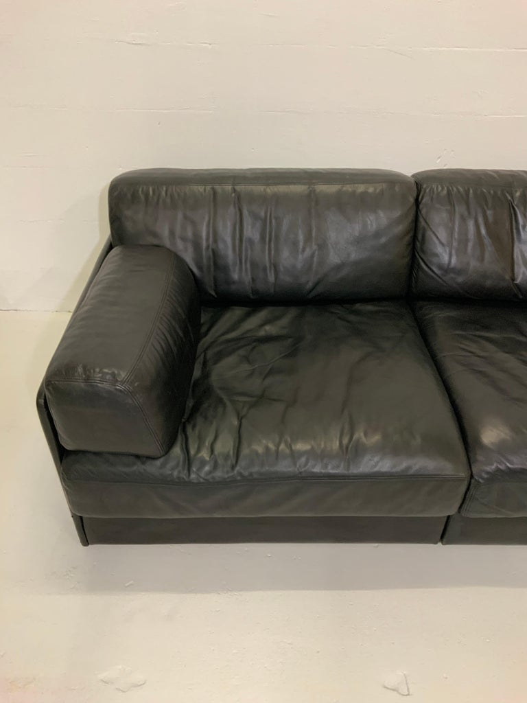 De Sede DS-76 Vintage Leather Lounge 4-Seat Modular Sofa Daybed in Black, 1970s 5