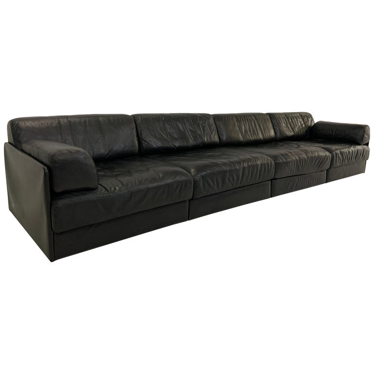De Sede DS-76 Vintage Leather Lounge 4-Seat Modular Sofa Daybed in Black, 1970s