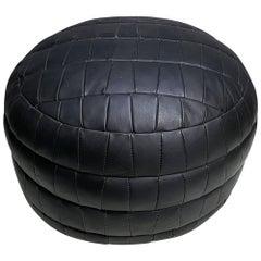 De Sede DS-80 Black Patchwork Leather Pouf, Ottoman, 1970s, Switzerland