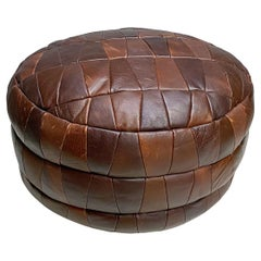 De Sede DS-80 Brown Patchwork Leather Pouf, Ottoman, 1970s, Switzerland