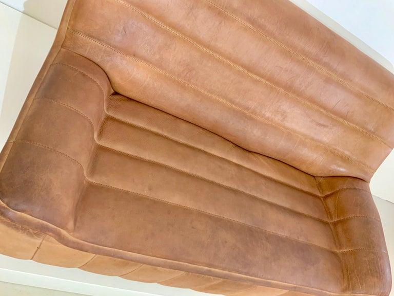 De Sede DS-84 Vintage Thick Buffalo Neck 2-Seat Leather Loveseat Sofa, 1970s For Sale 1