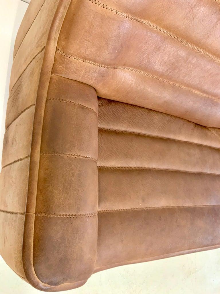 De Sede DS-84 Vintage Thick Buffalo Neck 2-Seat Leather Loveseat Sofa, 1970s For Sale 2