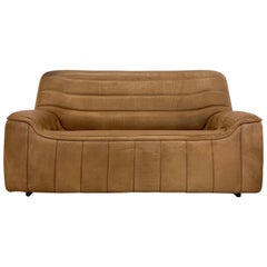 De Sede DS-84 Vintage Thick Buffalo Neck 2-Seat Leather Loveseat Sofa, 1970s