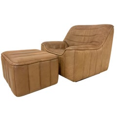 De Sede DS-84 Vintage Thick Buffalo Neck Leather Lounge Armchair & Ottoman 1970s