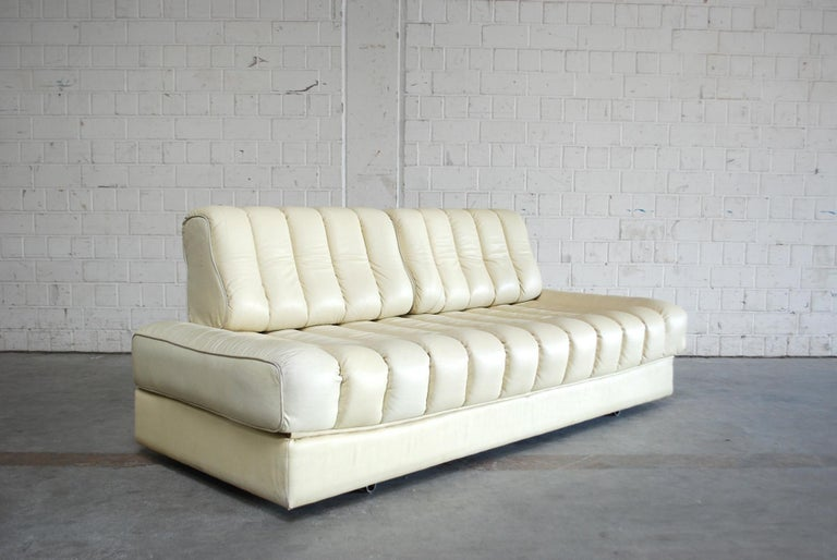 De Sede DS 85 Natural  Daybed Leather Sofa Ecru Crème White For Sale 10