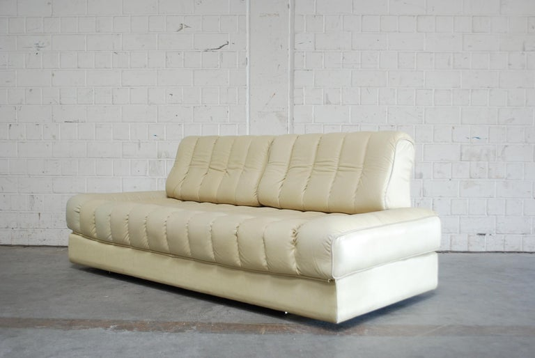 De Sede DS 85 Natural  Daybed Leather Sofa Ecru Crème White For Sale 3