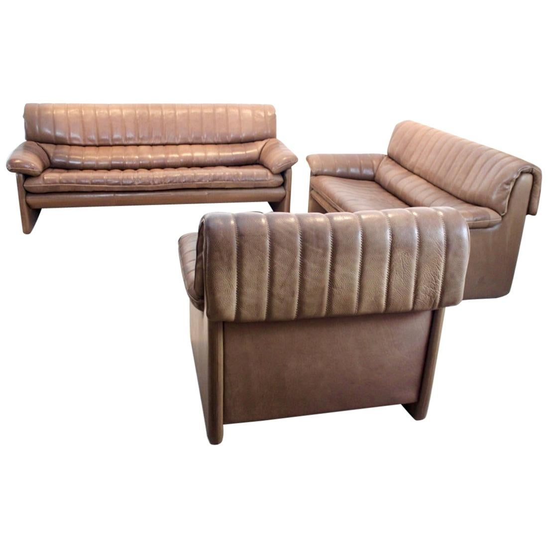 De Sede DS-86 Living Room Set in Soft Thick Brown Neck Leather