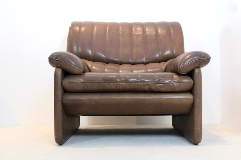 De Sede DS-86 Lounge Chair in Soft Thick Brown Neck Leather In Good Condition For Sale In Voorburg, NL