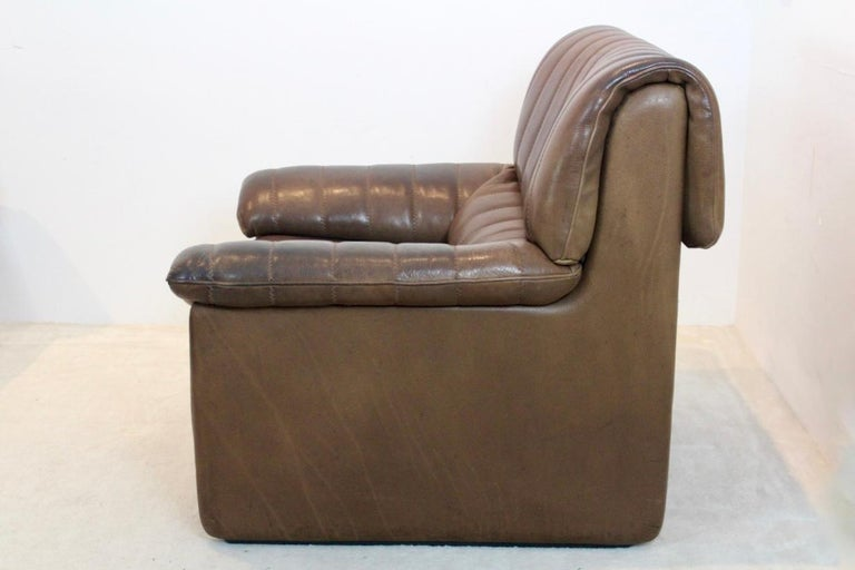 20th Century De Sede DS-86 Lounge Chair in Soft Thick Brown Neck Leather For Sale