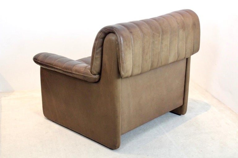 De Sede DS-86 Lounge Chair in Soft Thick Brown Neck Leather For Sale 1
