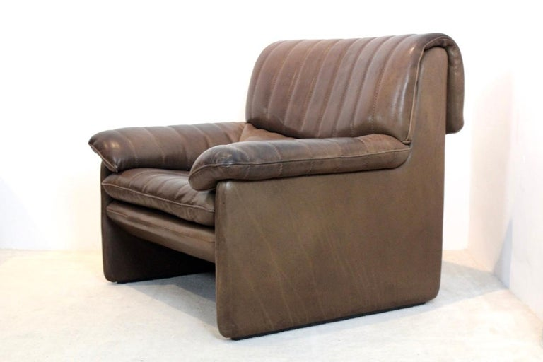 De Sede DS-86 Lounge Chair in Soft Thick Brown Neck Leather For Sale 2