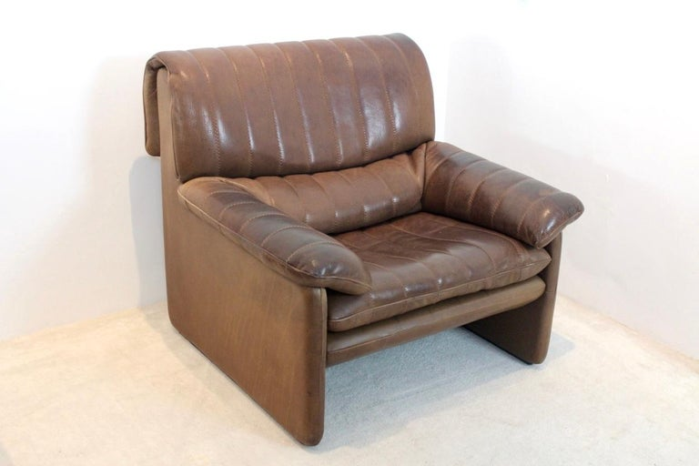 De Sede DS-86 Lounge Chair in Soft Thick Brown Neck Leather For Sale 3