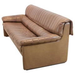 De Sede DS-86 Three-Seat Sofa in Soft Thick Brown Neck Leather