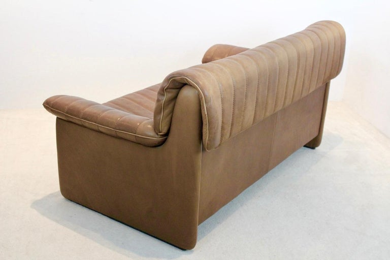 De Sede DS-86 Two-Seat Sofa in Soft Thick Brown Neck Leather In Good Condition For Sale In Voorburg, NL