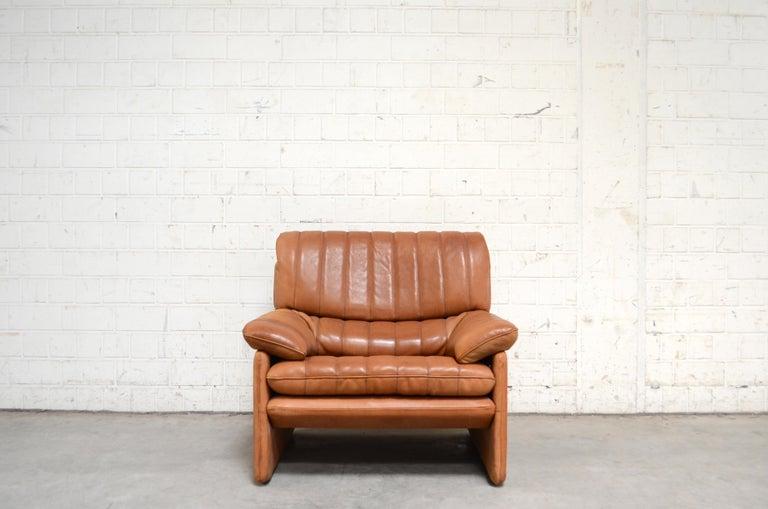 Modern De Sede DS 86 Vintage Cognac Neck Leather Armchair For Sale