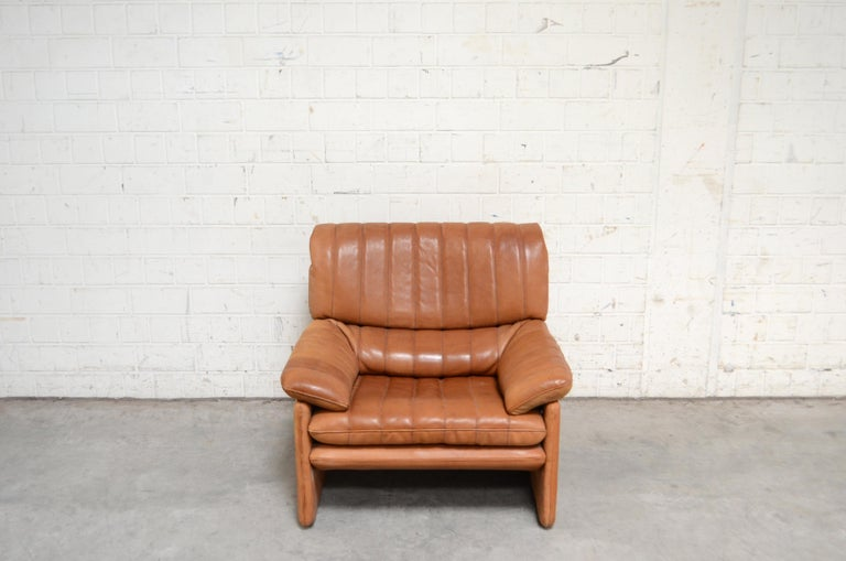 German De Sede DS 86 Vintage Cognac Neck Leather Armchair For Sale
