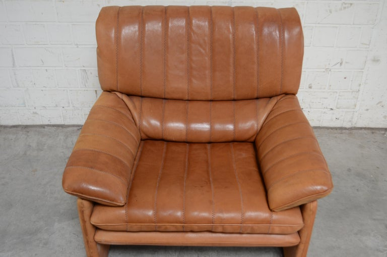 De Sede DS 86 Vintage Cognac Neck Leather Armchair In Fair Condition For Sale In Munich, Bavaria