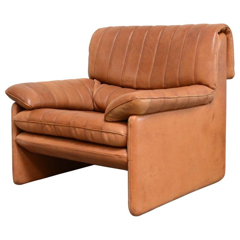 De Sede DS 86 Vintage Cognac Neck Leather Armchair For Sale