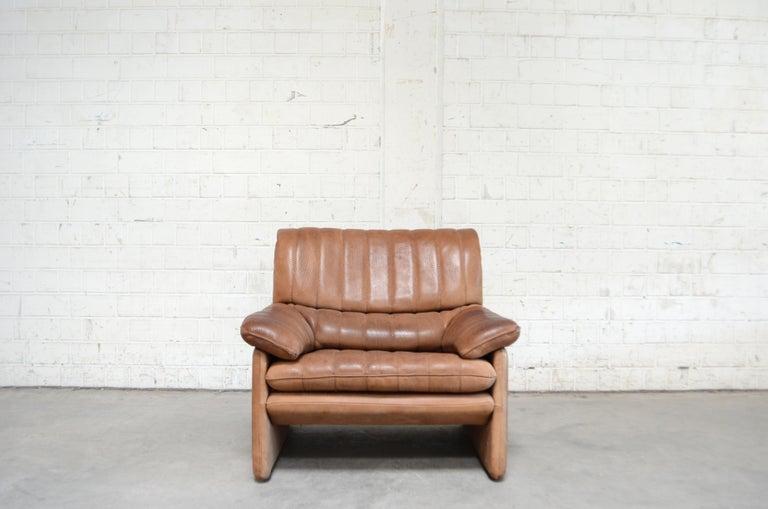 Modern De Sede DS 86 Vintage Neck Leather 2 x Armchair For Sale
