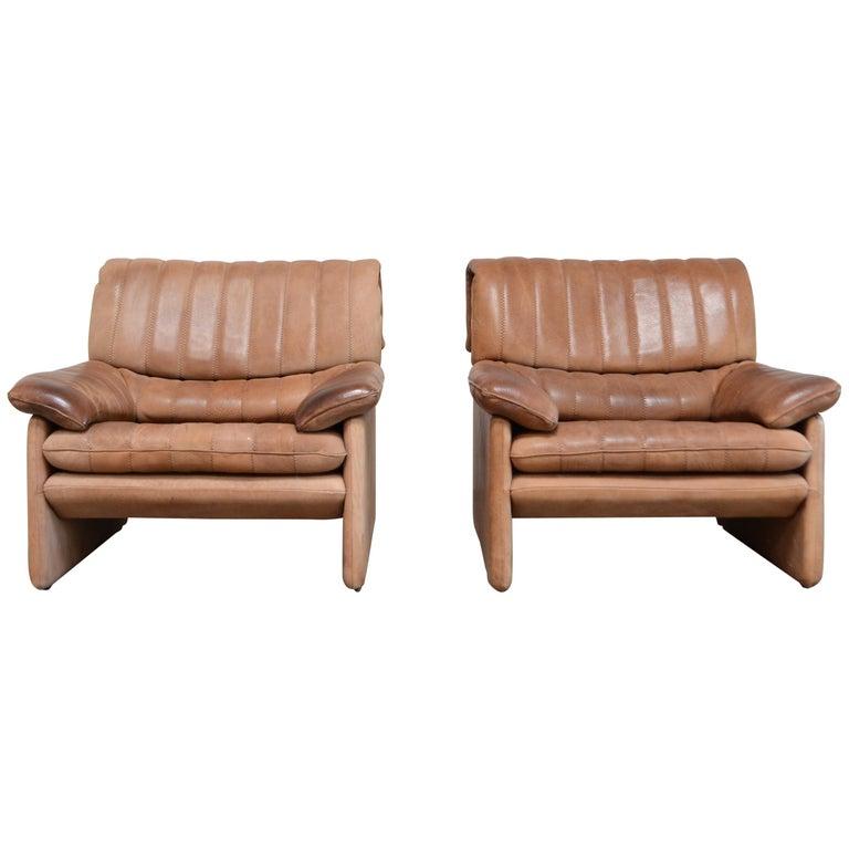 De Sede DS 86 Vintage Neck Leather 2 x Armchair For Sale