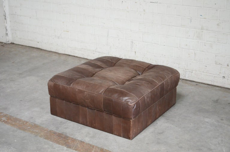 Mid-Century Modern De Sede DS 88 Leather Ottoman or Pouf Patchwork Brown For Sale