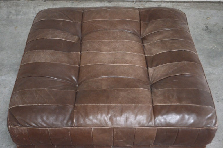Swiss De Sede DS 88 Leather Ottoman or Pouf Patchwork Brown For Sale