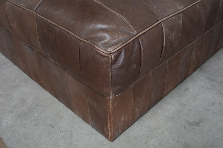 Late 20th Century De Sede DS 88 Leather Ottoman or Pouf Patchwork Brown For Sale