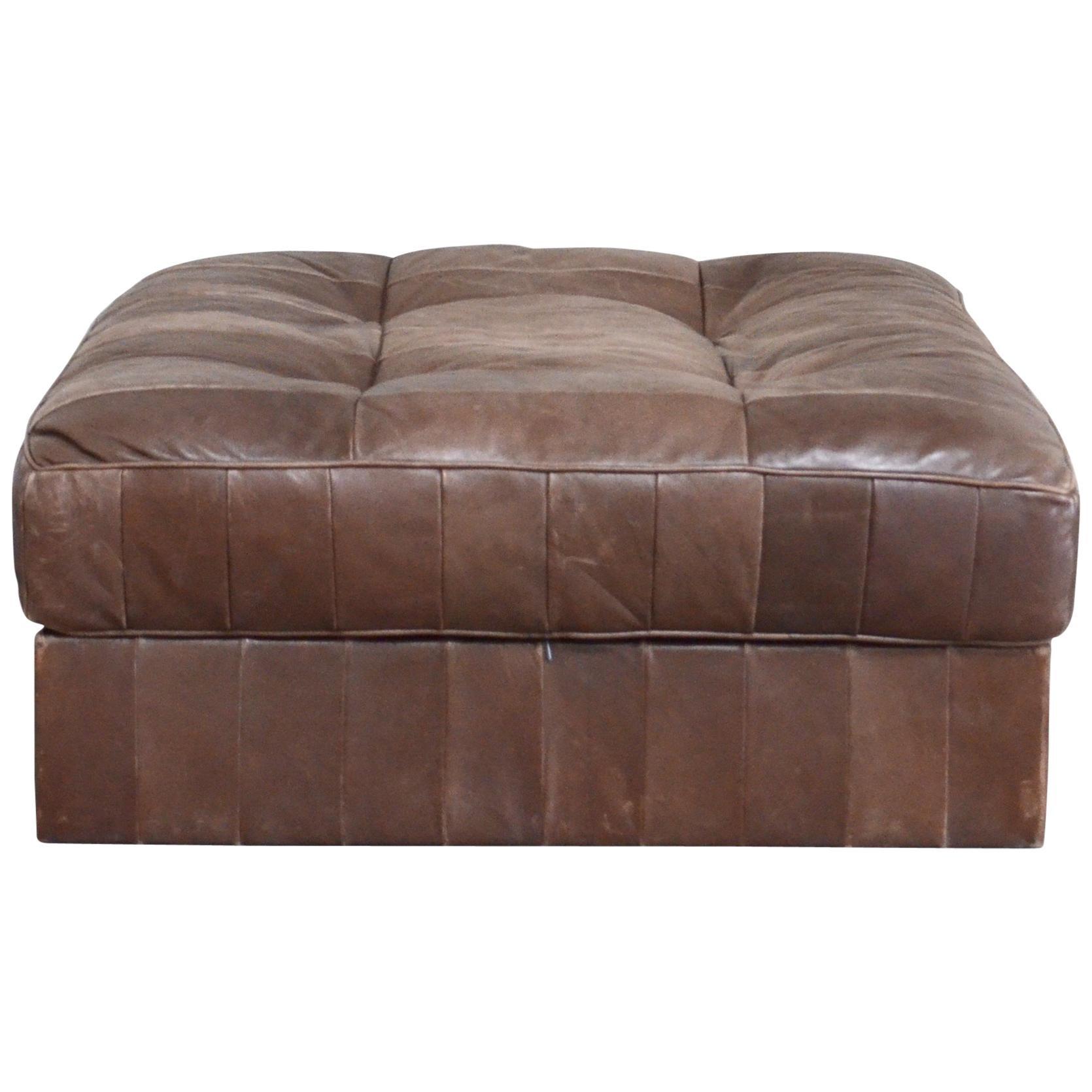 De Sede DS 88 Leather Ottoman or Pouf Patchwork Brown