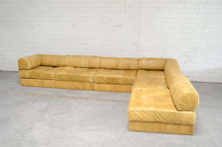 De Sede Ds 88 Modular Leather Sofa in patchwork design.