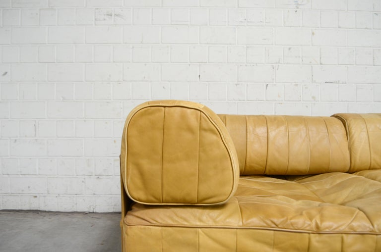Late 20th Century De Sede DS 88 Modular Leather  Sofa yellow cognac patchwork For Sale