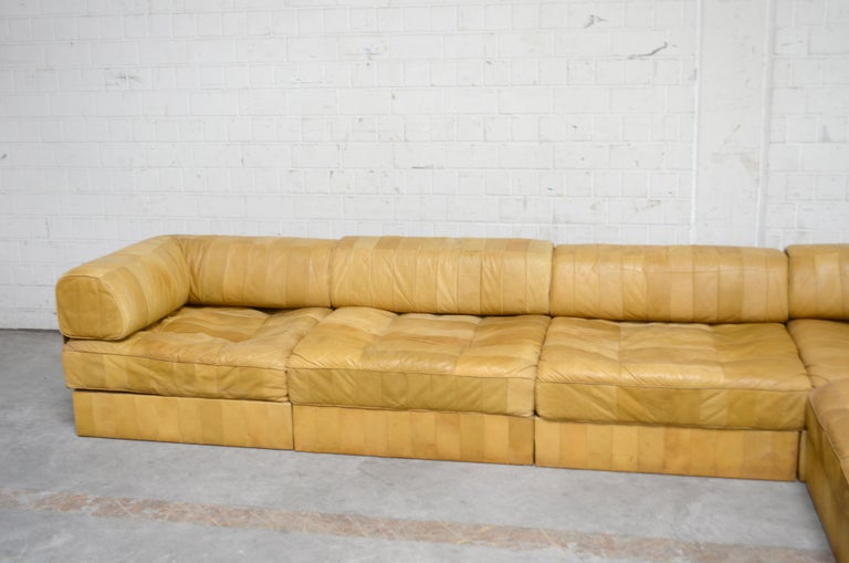 Wood De Sede DS 88 Modular Leather  Sofa yellow cognac patchwork For Sale