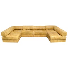 De Sede DS 88 Modular Leather  Sofa yellow cognac patchwork