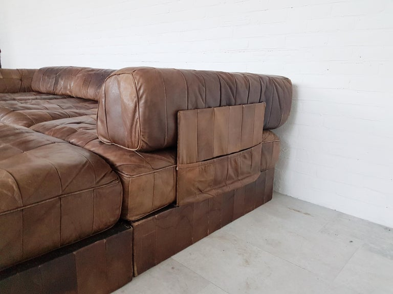 De Sede Ds 88 Patchwork Leather Brown Modular Sofa For