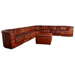 De Sede DS11 8 Section Modular Sofa and Foot stool