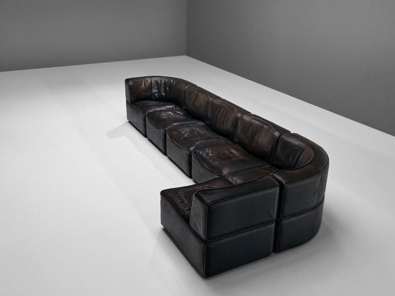 De Sede DS15 Sectional Sofa in Brown Leather For Sale 4