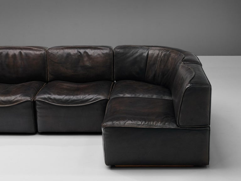 De Sede DS15 Sectional Sofa in Brown Leather For Sale 5