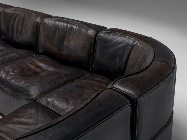 De Sede DS15 Sectional Sofa in Brown Leather For Sale 6