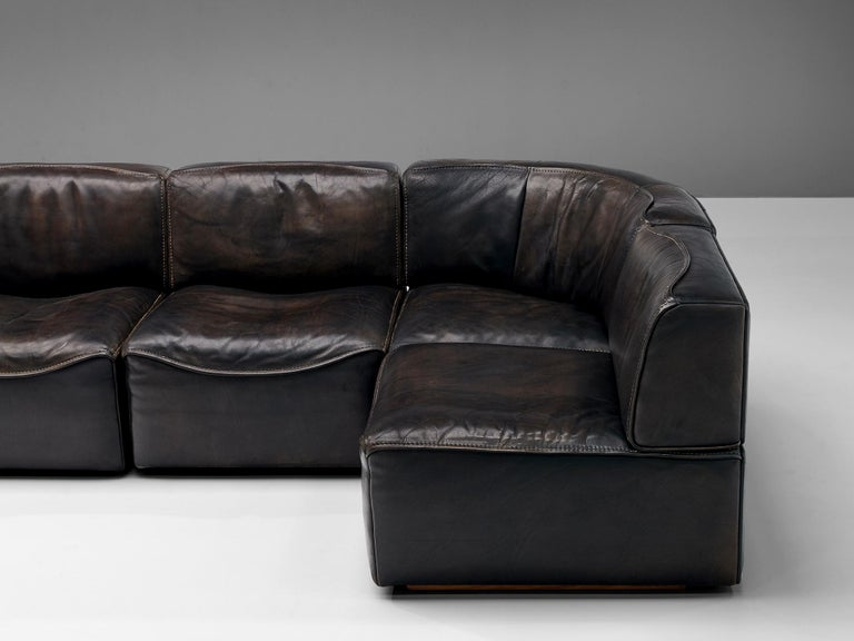 De Sede DS15 Sectional Sofa in Brown Leather For Sale 7