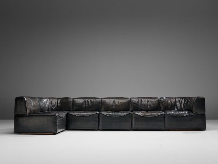 Mid-Century Modern De Sede DS15 Sectional Sofa in Brown Leather For Sale