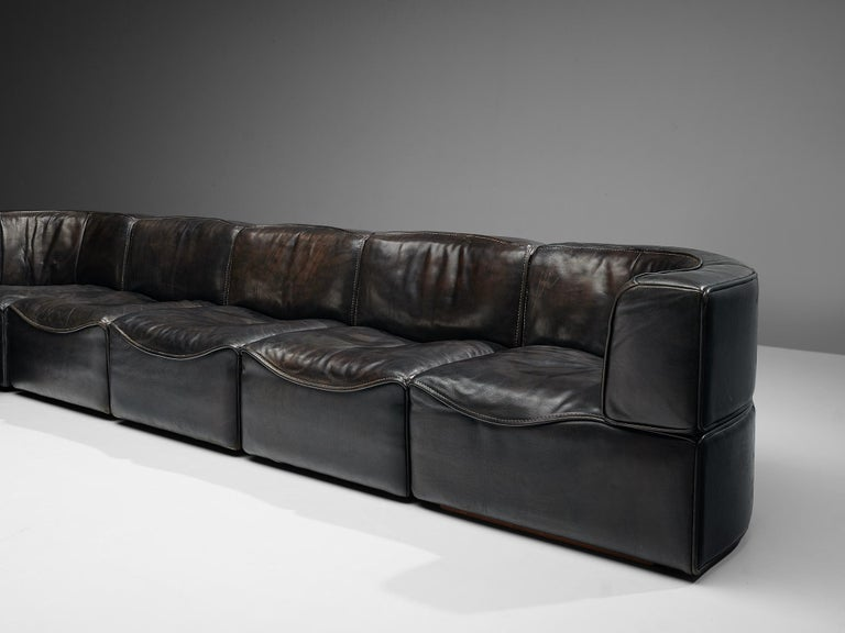 De Sede DS15 Sectional Sofa in Brown Leather In Good Condition For Sale In Waalwijk, NL