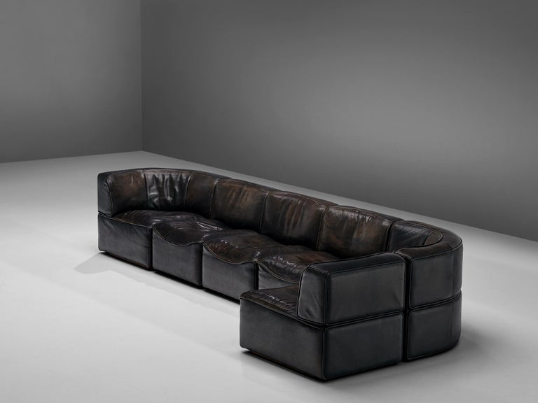 Late 20th Century De Sede DS15 Sectional Sofa in Brown Leather For Sale