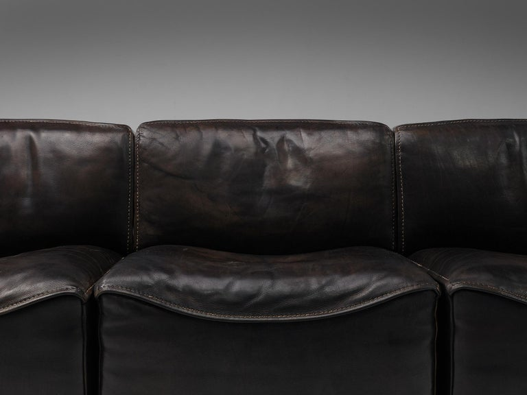 De Sede DS15 Sectional Sofa in Brown Leather For Sale 1