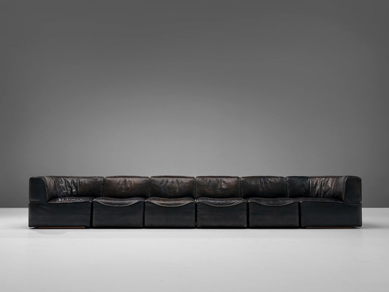 De Sede DS15 Sectional Sofa in Brown Leather For Sale 2